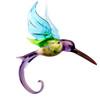 Floral Purple Hummingbird Hanging Glass Figurine