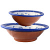 Terra Cotta Pottery 2-Bowl Serving Set: Wildflower Blue