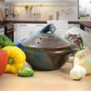 Stoneware Pottery Microwave Vegetable Steamer, Lakeside Blue