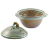 Stoneware Pottery Microwave Vegetable Steamer, Sea Oats Glaze
