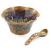 Tuscan Farmhouse Collection: Fluted Stoneware Bowl with Spoon