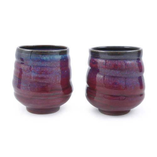 Plum Perfect Spiral Stoneware Tea Cups (Set of 2)