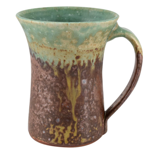 Rustic Stoneware Coffee Mug with Copper Green Glaze