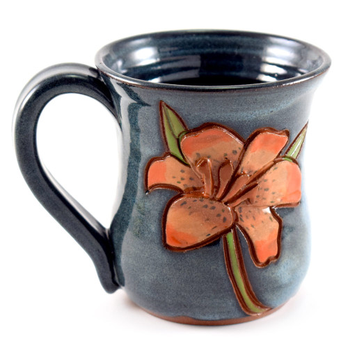 Sculpted Lily Flower Stoneware Mug