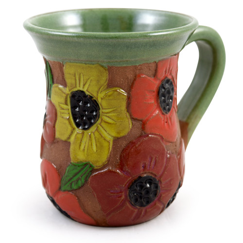 Carved Poppy Field Stoneware Mug