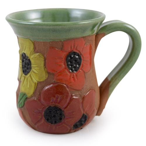 Carved Poppy Field Stoneware Mug