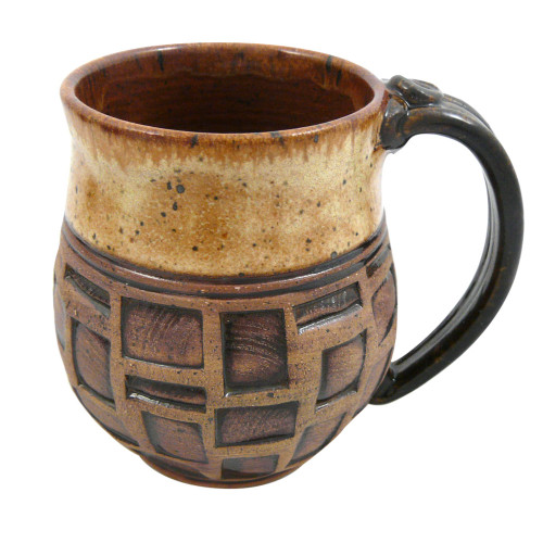 Earthy Terrain Carved Pottery Mug - Sahara Sand