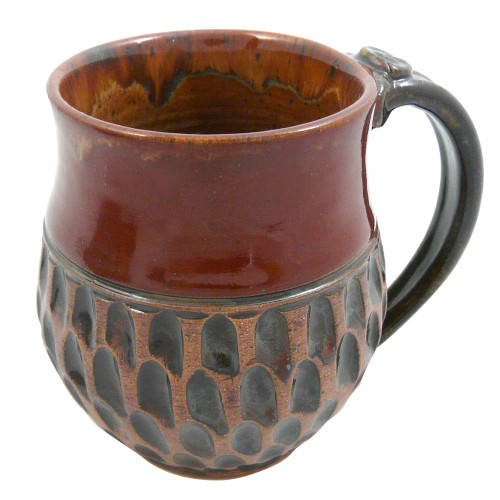 Earthy Terrain Carved Pottery Mug - Moroccan Cinnamon