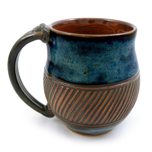 Earthy Terrain Carved Pottery Mug - South Seas Blue