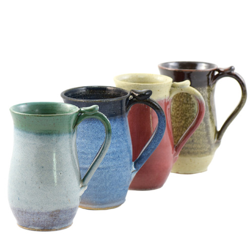 Classic Tall Pottery Mug with Thumb Grip