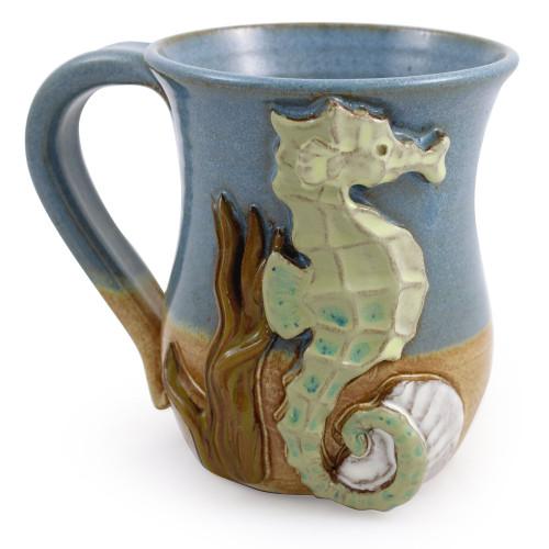Sculpted Aquatic Seahorse Stoneware Mug