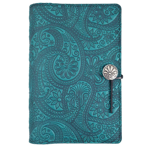 Embossed Leather Journal: Teal Paisley