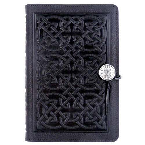 Embossed Leather Journal: Black Celtic Knot