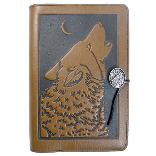 Embossed Leather Journal: Howling Wolf