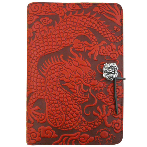 Embossed Leather Journal: Red Chinese Dragon