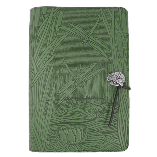 Embossed Leather Journal: Dragonfly Pond