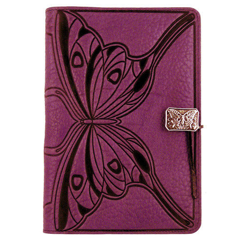 Embossed Leather Journal: Purple Butterfly