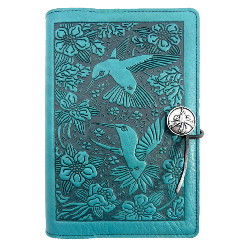 Embossed Leather Journal: Teal Hummingbirds