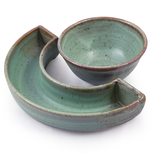 Simply Modern Pottery Collection: Crescent Tray and Dip Bowl in Sage Green