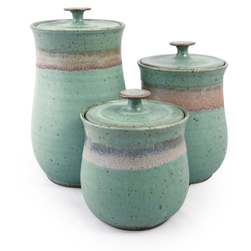 Simply Modern Pottery Collection: 3-Piece Canister Set in Sage Green
