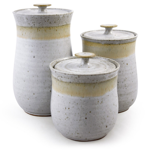 Simply Modern Pottery Collection: 3-Piece Canister Set in Vanilla Wisp