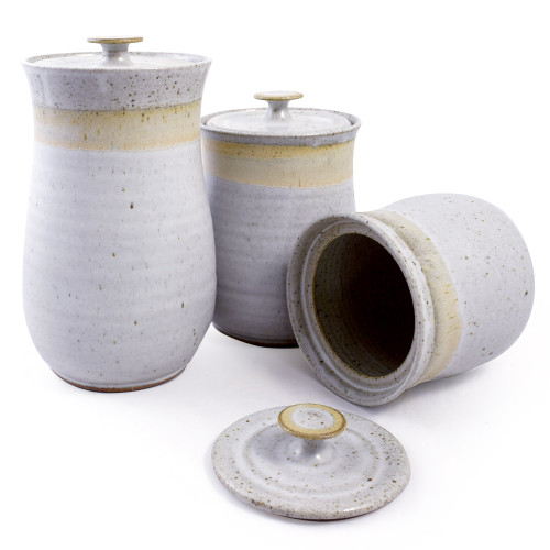 Simply Modern Handmade Pottery Collection 3-Piece Canister Set in Sage Green Made in USA