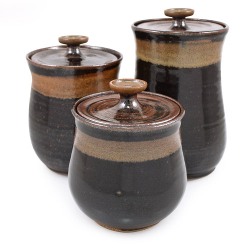 Simply Modern Pottery Collection: 3-Piece Canister Set in Midnight Mocha