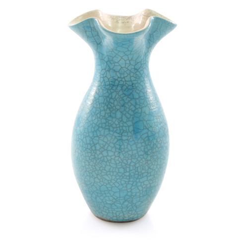Turquoise Crackle Fluted Top Pottery Vase