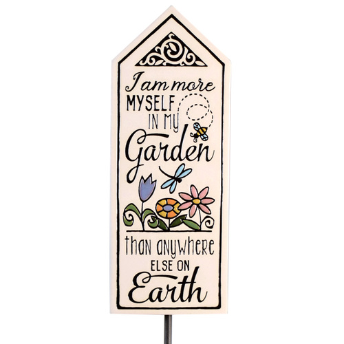 Ceramic Tile Garden Stake: More Myself in My Garden