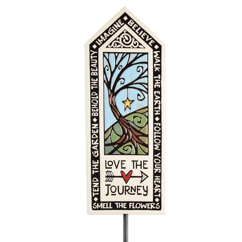 Ceramic Tile Garden Stake: Love the Journey