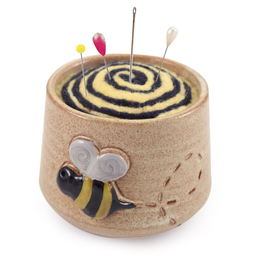 Busy Bee Stoneware/Felted Wool Pincushion