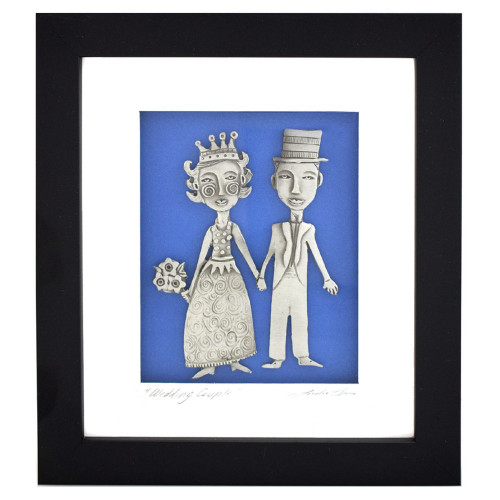 Wedding Couple Framed Pewter Art