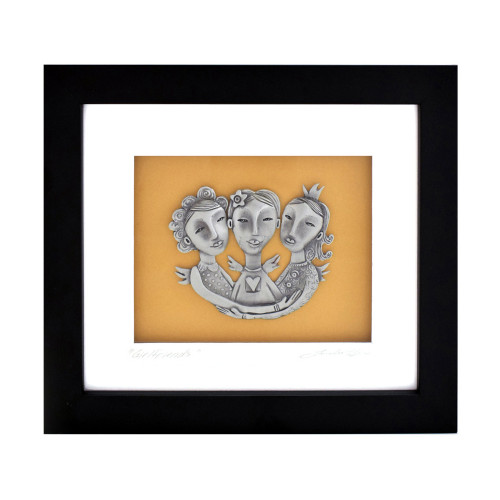 Three Girlfriends Framed Pewter Art