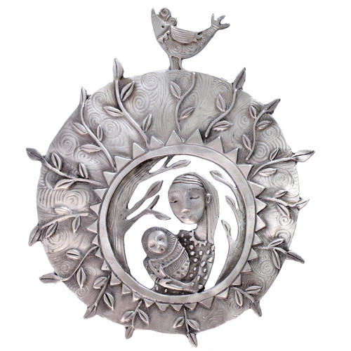 Cast Pewter Art Wall Plaque - 'New Mother'