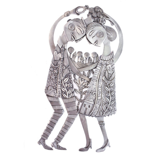 Cast Pewter Art Wall Plaque - 'Eternal Love Couple'