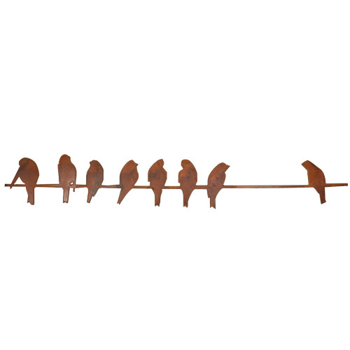 Birds on a Wire Rusty Metal Garden Wall Hanging