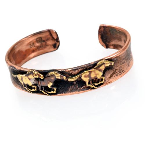 Wild Mustangs Rustic Copper Cuff Bracelet