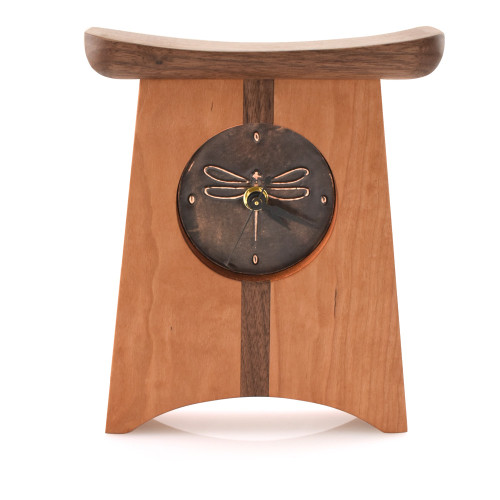 Appalachia Wood Shelf Clock with Bronze Dragonfly Face