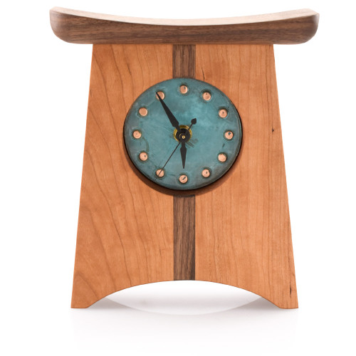 Appalachia Wood Shelf Clock with Green Copper Face