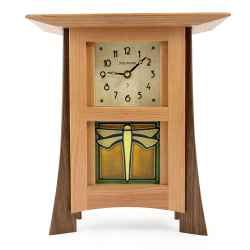Contemporary Cherry Mantel Clock with Dragonfly Tile