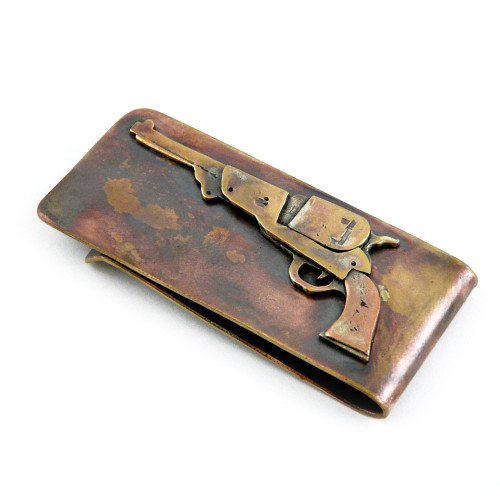 Bronze Money Clip - Revolver
