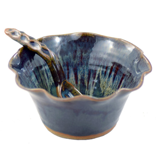 Fluted Stoneware Bowl with Spoon in Midnight Blue