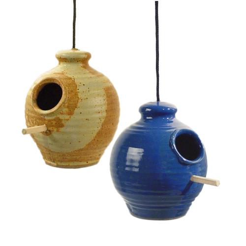Hanging Stoneware Chickadee Feeder