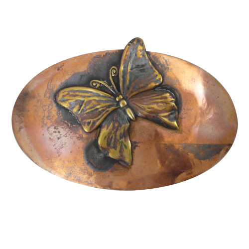Rustic Copper Hair Barrette - Butterfly