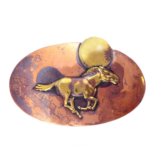 Rustic Copper Hair Barrette - Galloping Horse