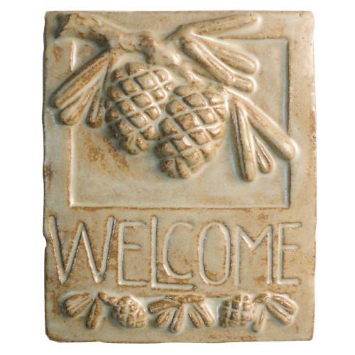 Craftsman-Style Ceramic Welcome Plaque : Pine Cones