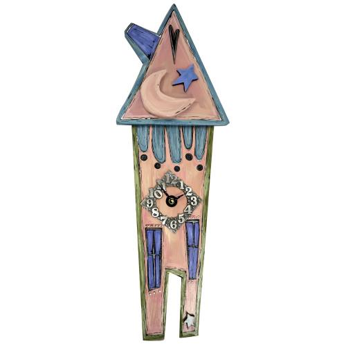 Folk Style Tall House Wall Clock
