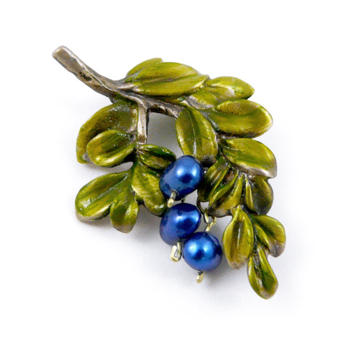 Brass Blueberry Branch Pin