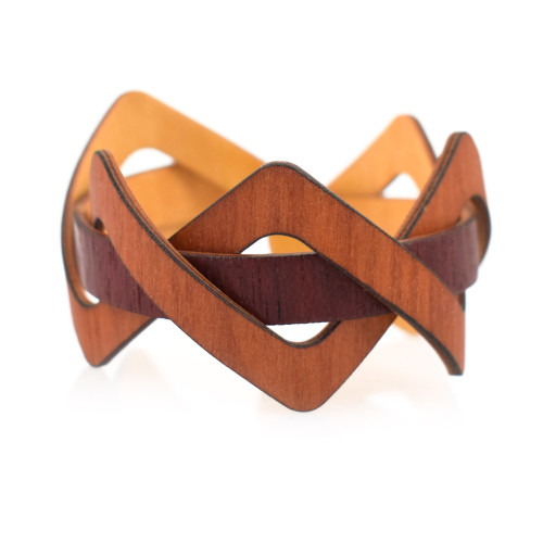 Flexible Woven Wooden Cuff Bracelet, Madrone + Purpleheart