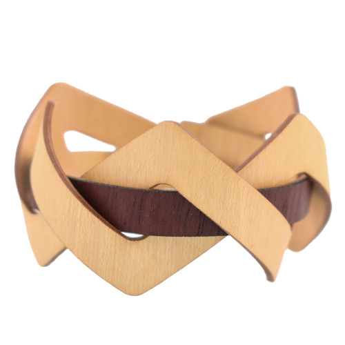 Flexible Woven Wooden Cuff Bracelet, Maple + Purpleheart